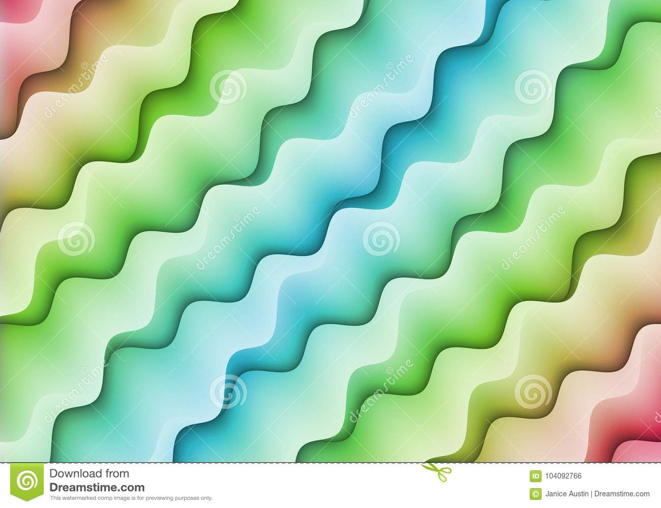 Abstract Bright Pink Green Blue Colorful Diagonal Squiggle Shapes Pattern Design Background