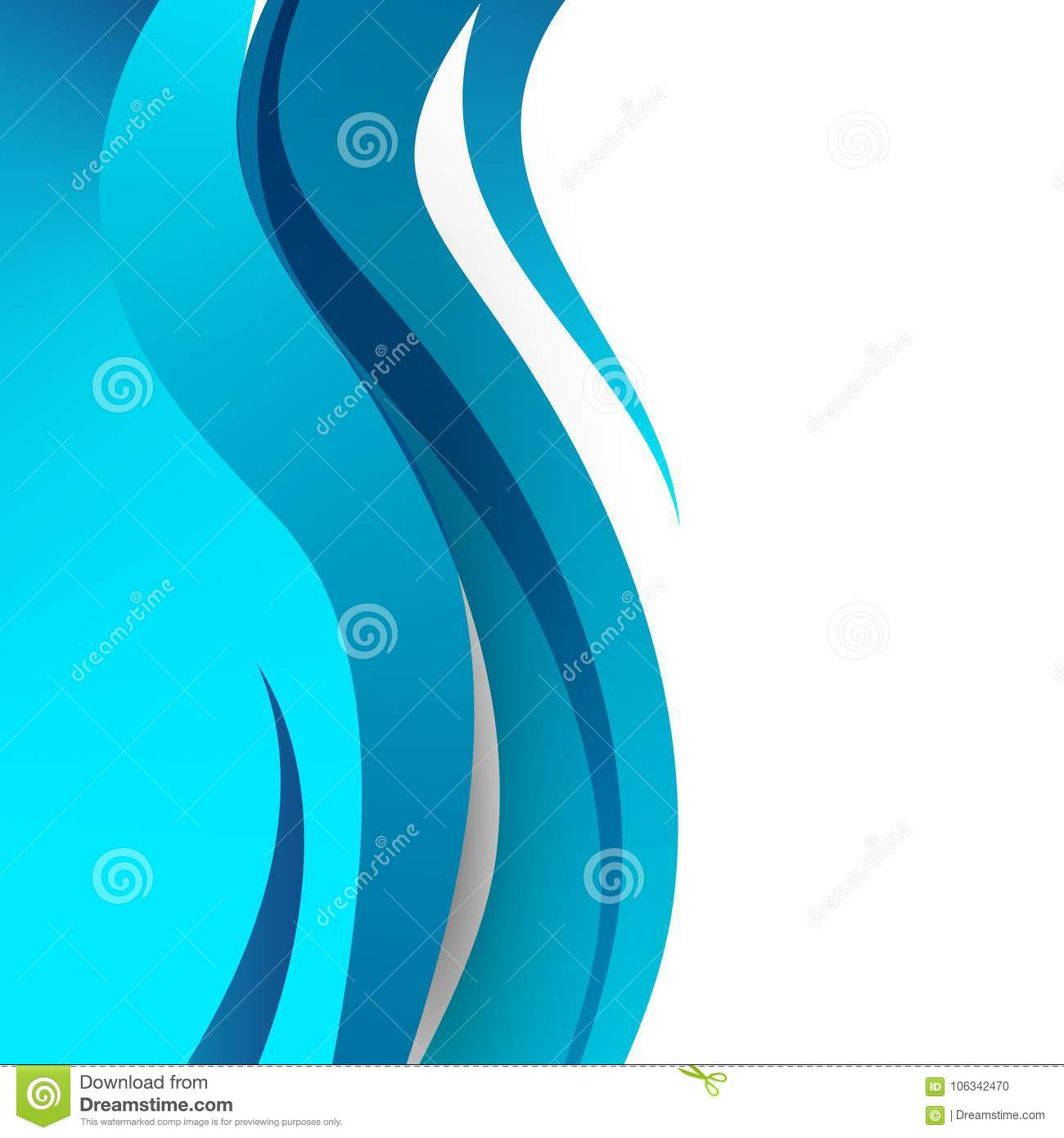 Abstract Bright Soft Design Background With Blue Wavy Curved Lines In Dynamic Smooth Style