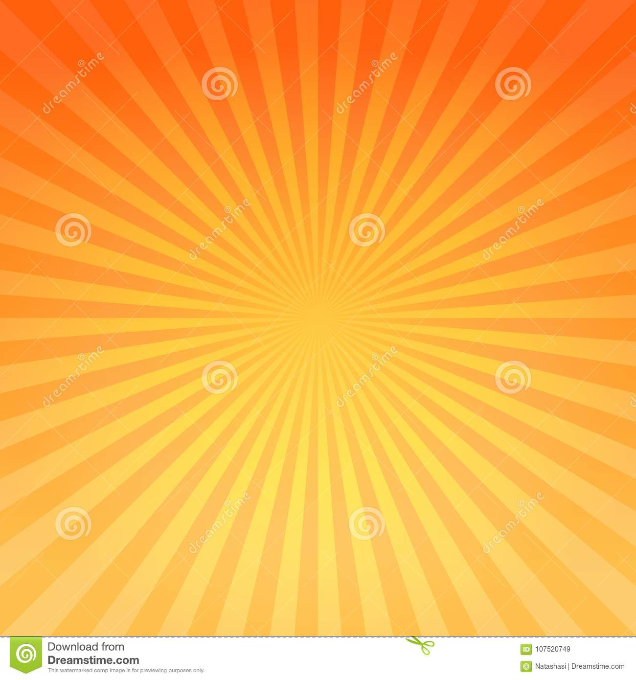 Abstract bright Yellow Orange gradient rays background. Vector EPS 10 cmyk
