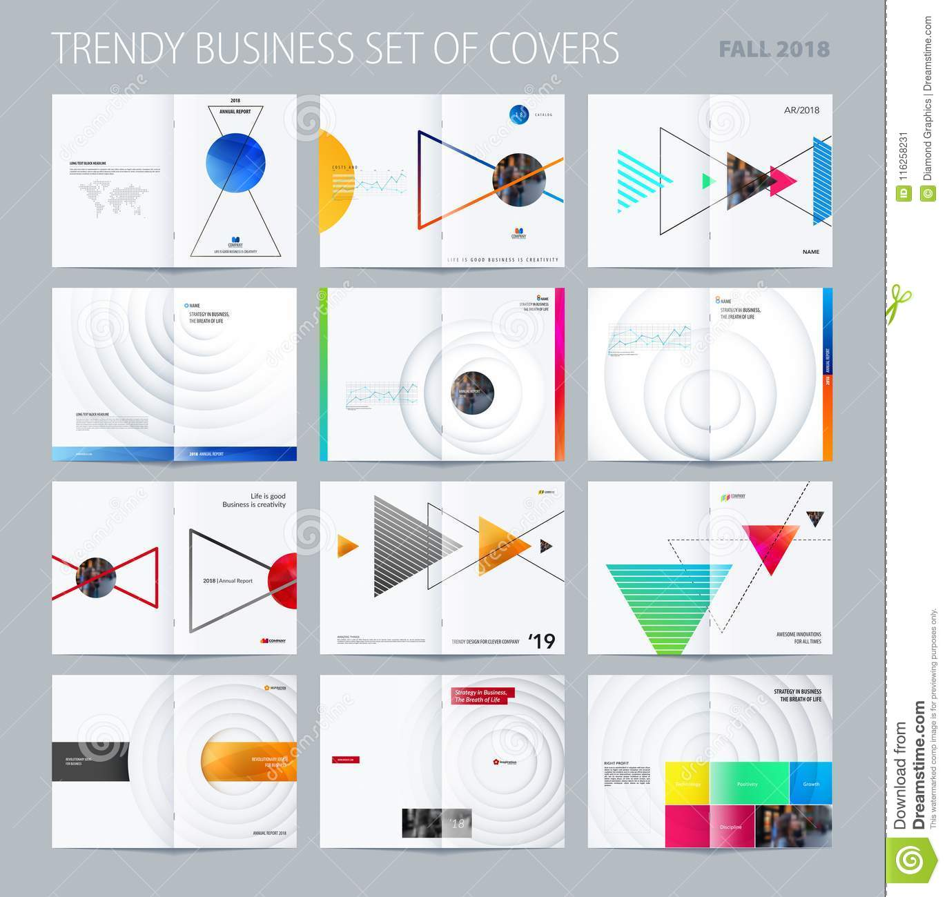 Abstract double-page brochure design style with colourful triangles for branding. Business vector presentation broadside