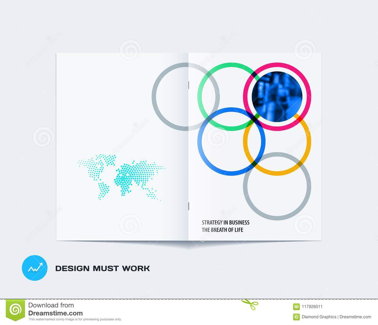 Abstract double-page brochure design round style with colourful circles for branding. Business vector partnership