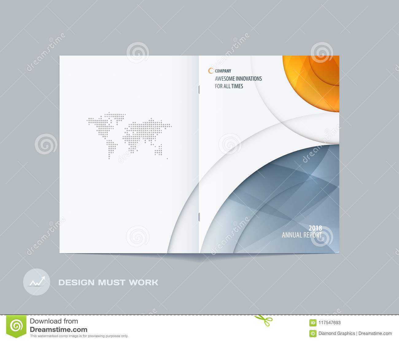 Abstract double-page brochure design round style with colourful circles for branding. Business vector presentation