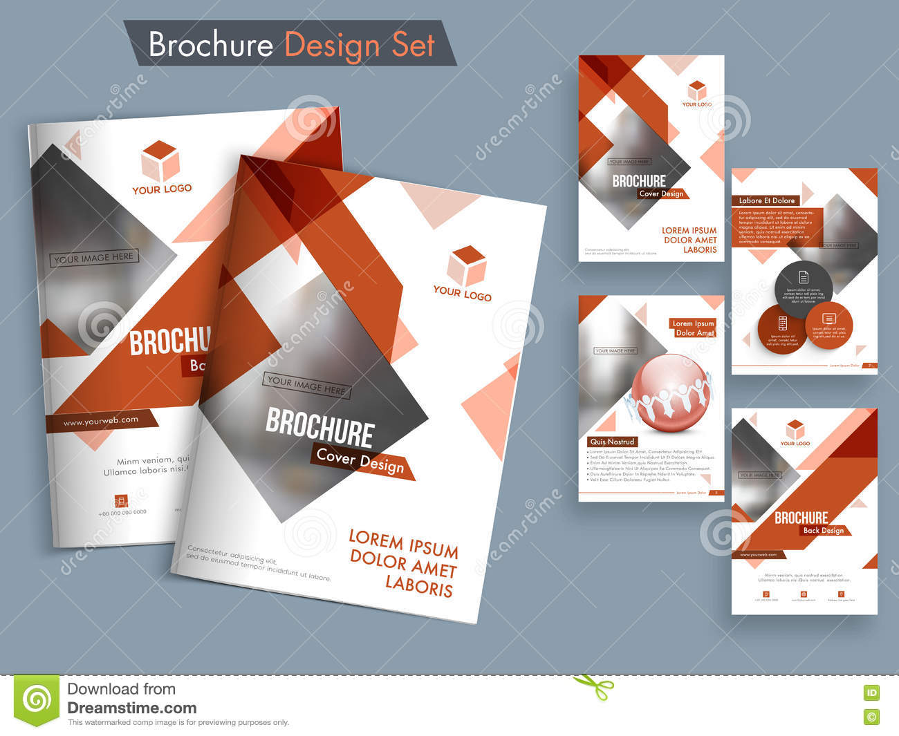 abstract brochure template or flyer set stock illustration