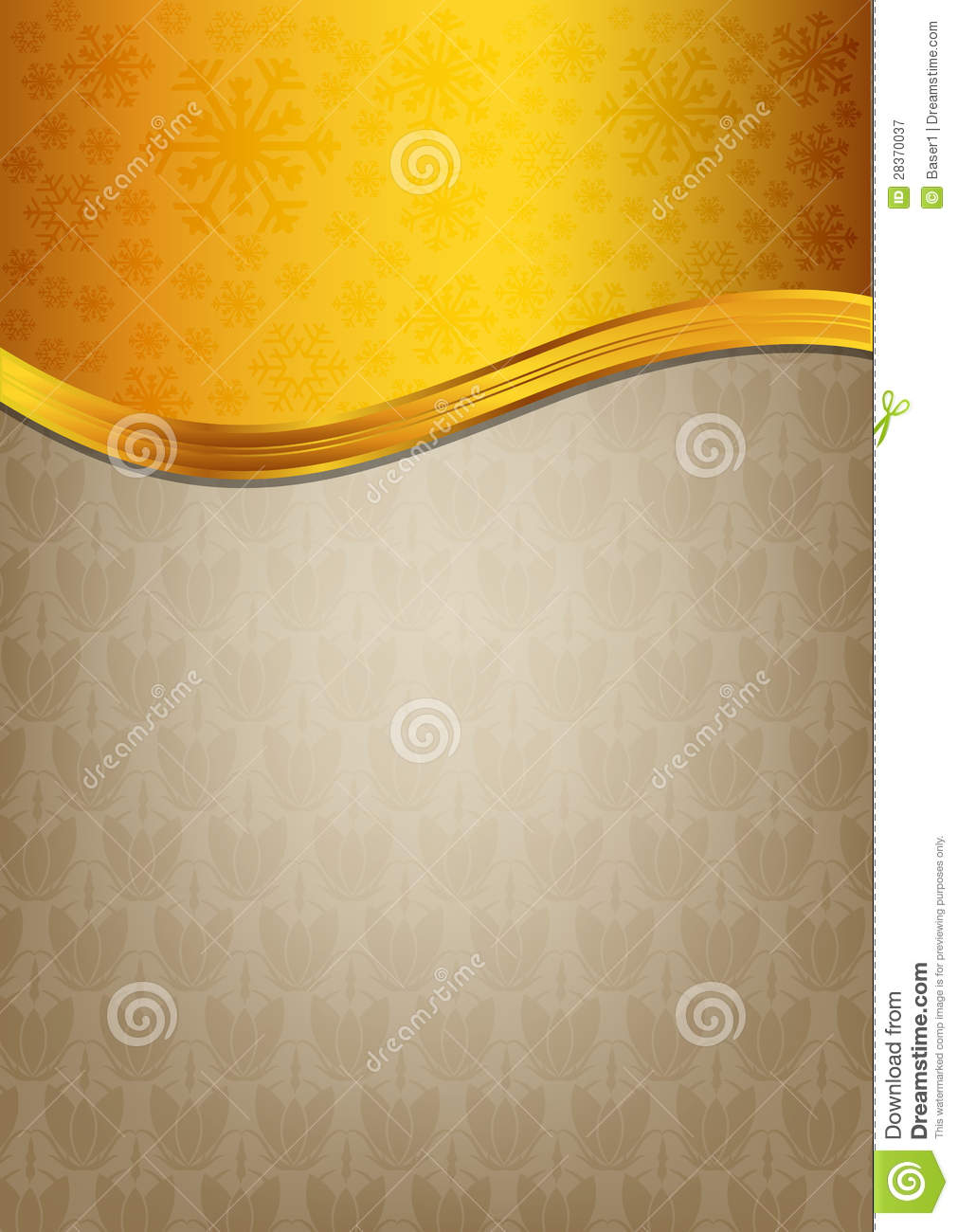 Abstract brown celebration paper with golden ribbo