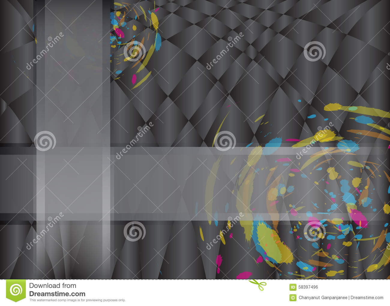Color Abstract Vector Background Text Frame Stock Vector: Abstract Brush Colorful Frame Plus On Black Vector
