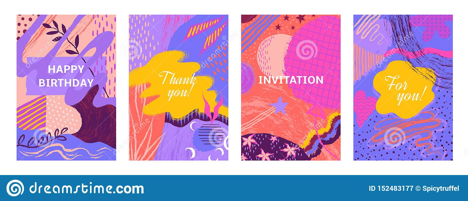 Abstract Brush Posters Brush Paint Hand Drawn Banners With