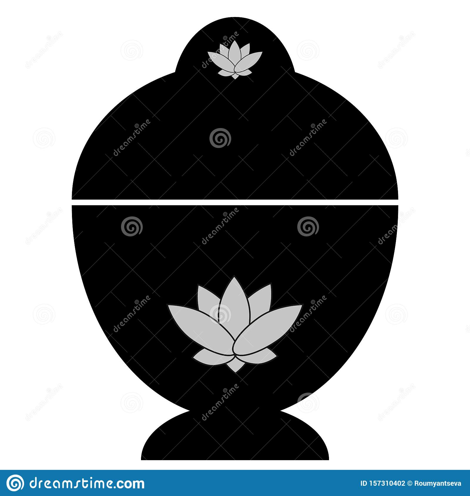 Abstract buddhist reliquary with lotus