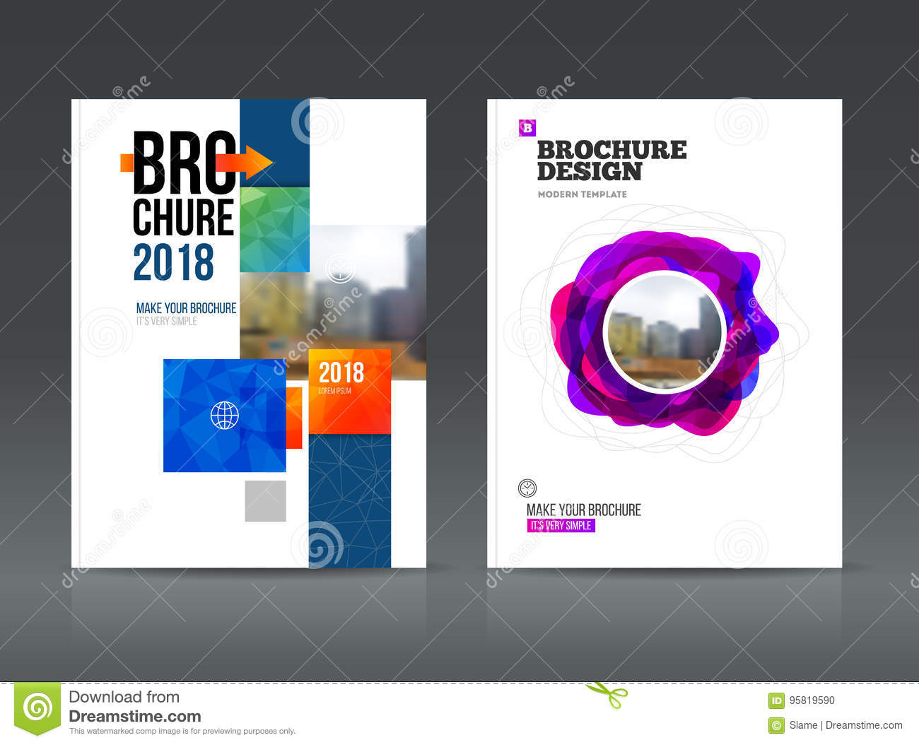 abstract business brochure design vector template in a4 size stock