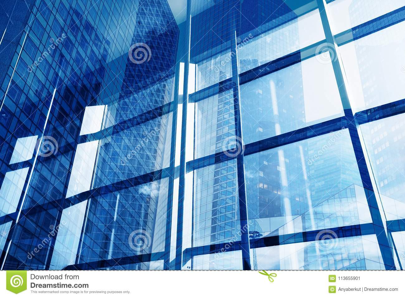 Abstract business building interior, high tech