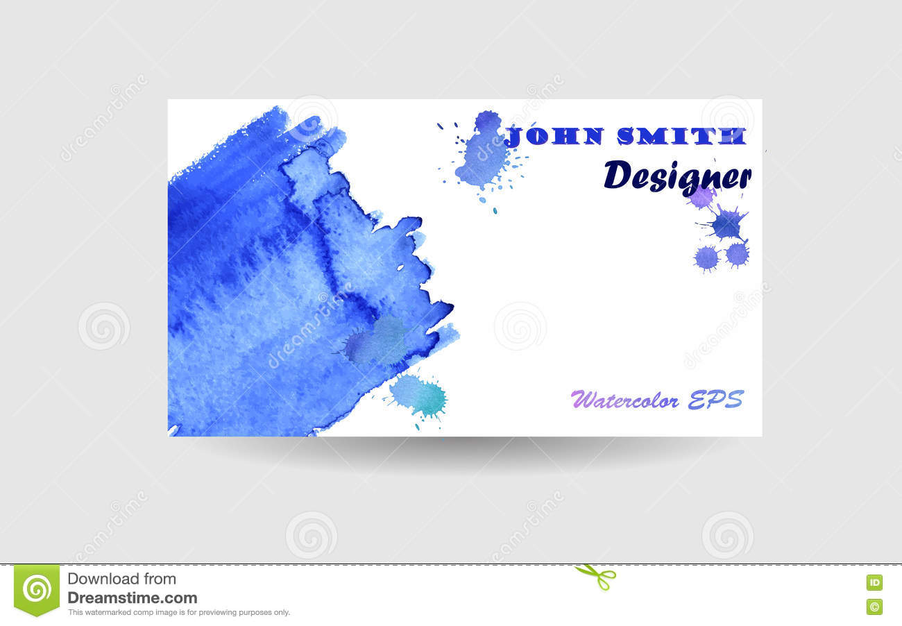 Abstract Business Card Background Design Blue Watercolor Texture