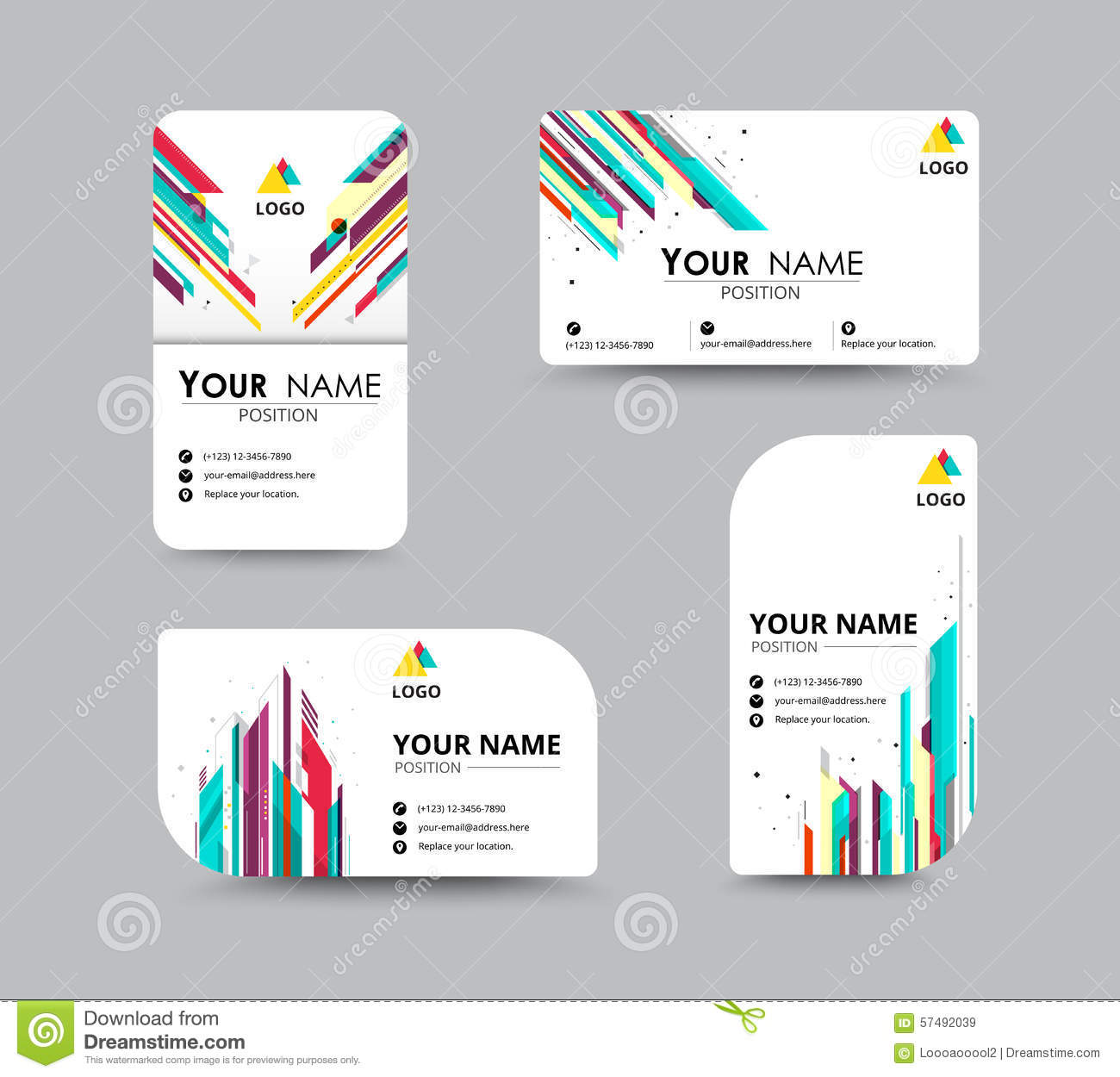 Abstract Business Card Template With Sample Name Position. City ...