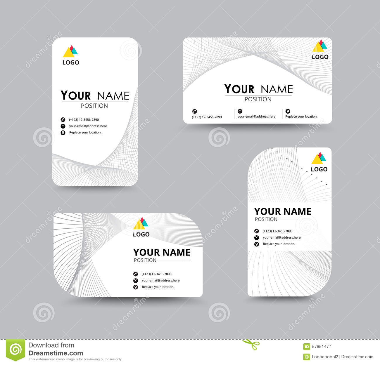 Abstract Business Card Template With Sample Name Position. City Stock Vector - Image 57851477