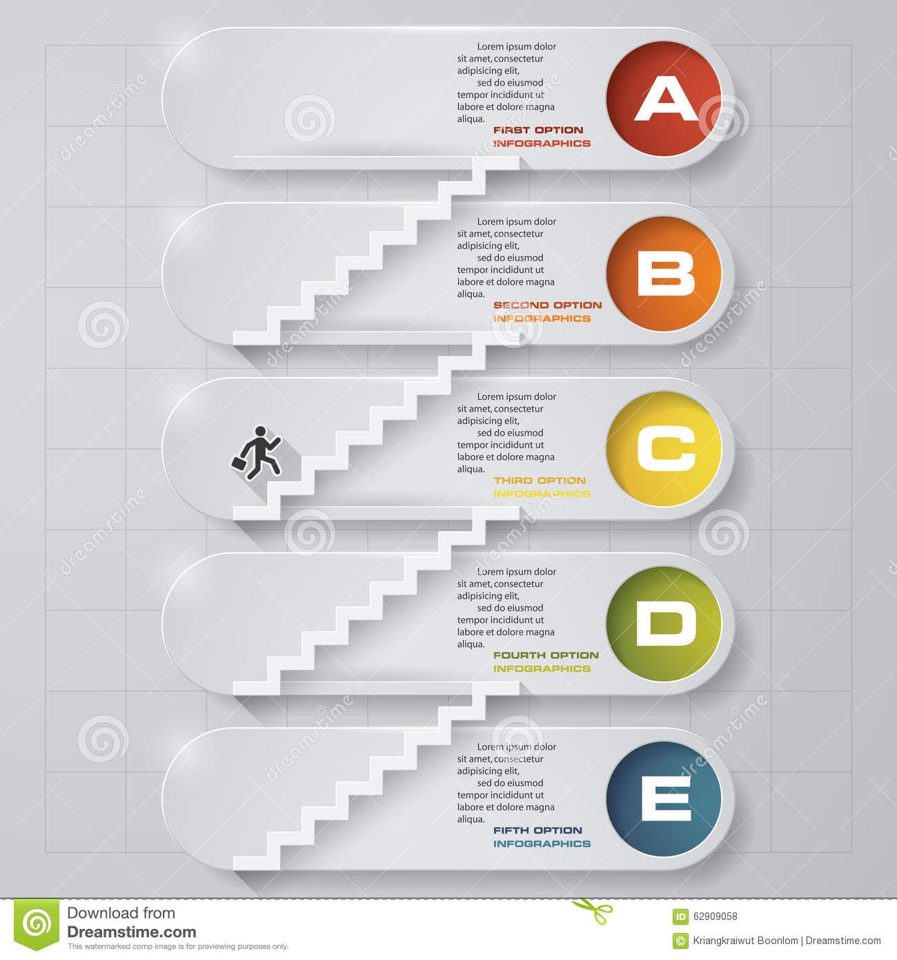 Abstract Business Chart  5 Steps From Lower To Upper Steps