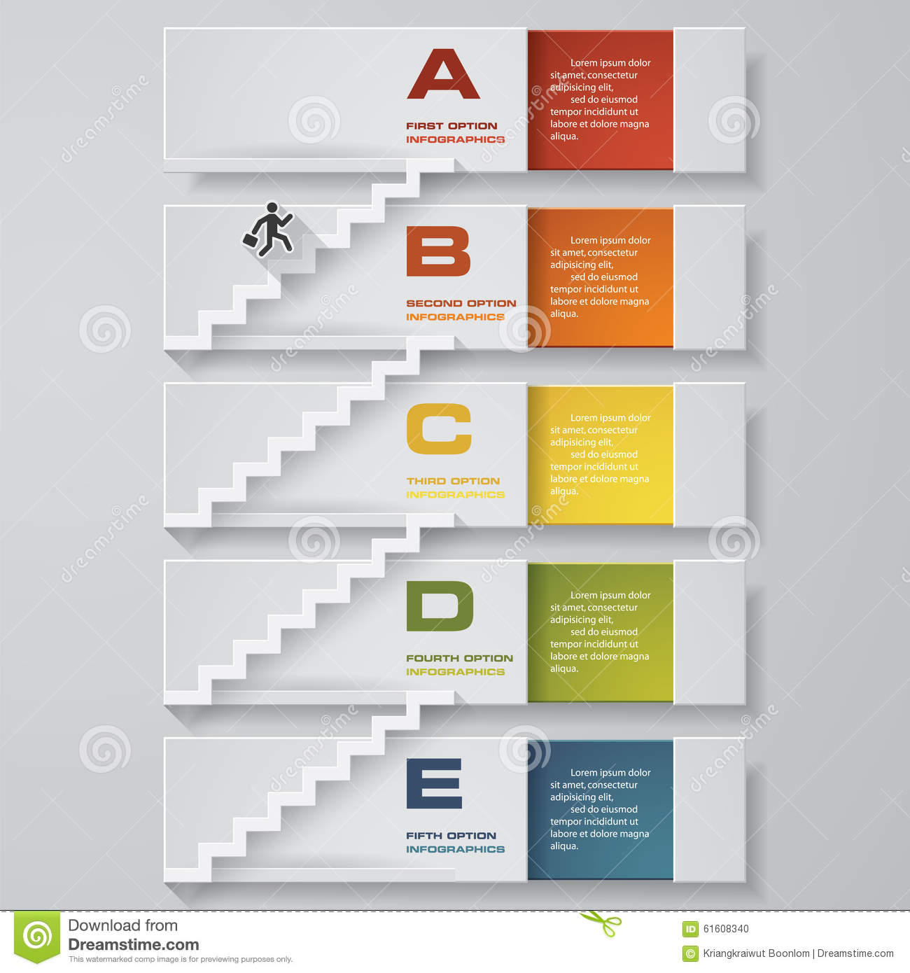 Business Chart. 5 Steps Diagram Template. Vector. Step By Step ...