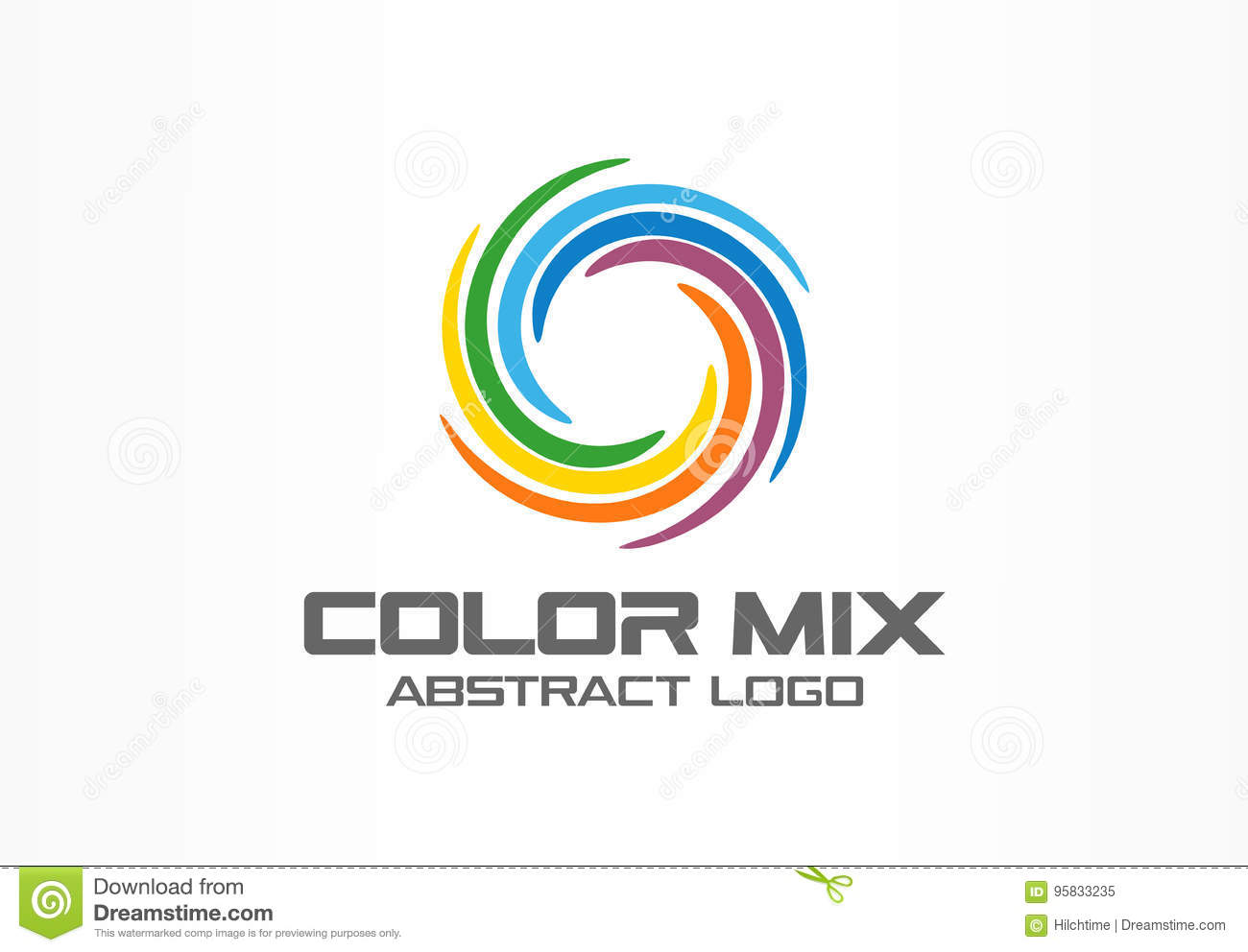 Abstract business company logo. Corporate identity design element. Color circle segments mix, round spectrum logotype