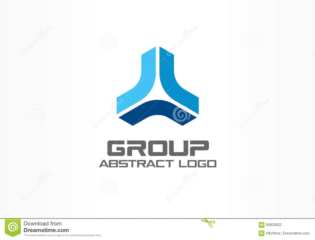 Abstract business company logo. Corporate identity design element. Market development, bank, growth group of three