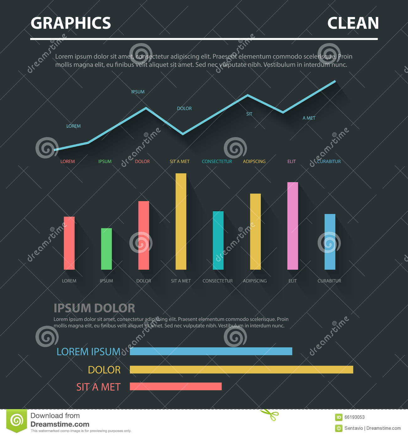 Abstract Business Flat Vector Infographics Template: Chart Graph ...