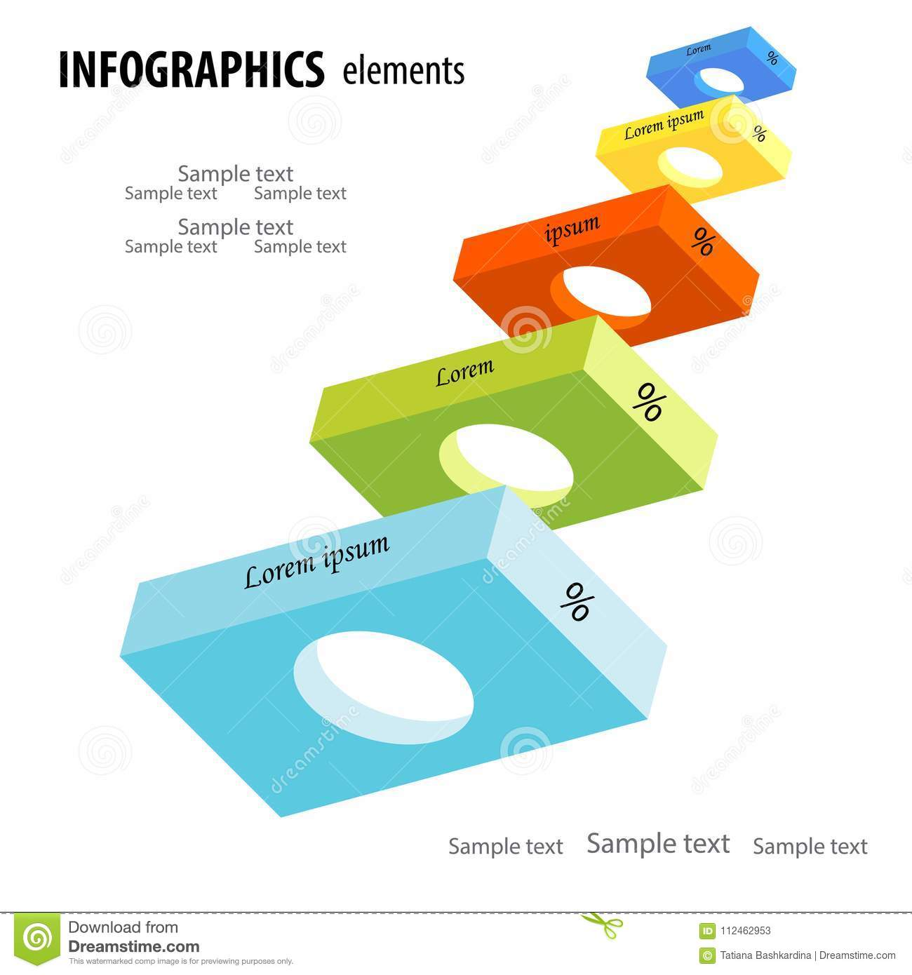 Abstract business infographics with five light colorful 3D horiz