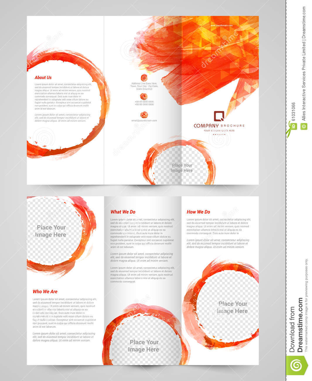 Abstract business trifold brochure template or flyer for Brochure presentation template