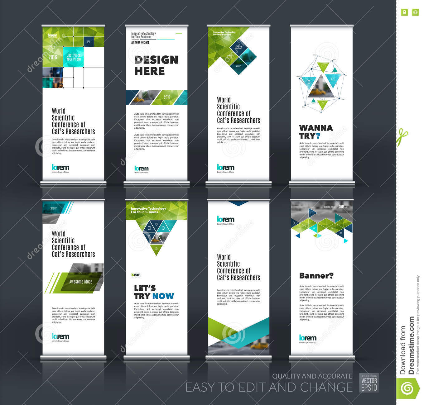 Modern Exhibition Stand Vector : Abstract business vector set of modern roll up banner