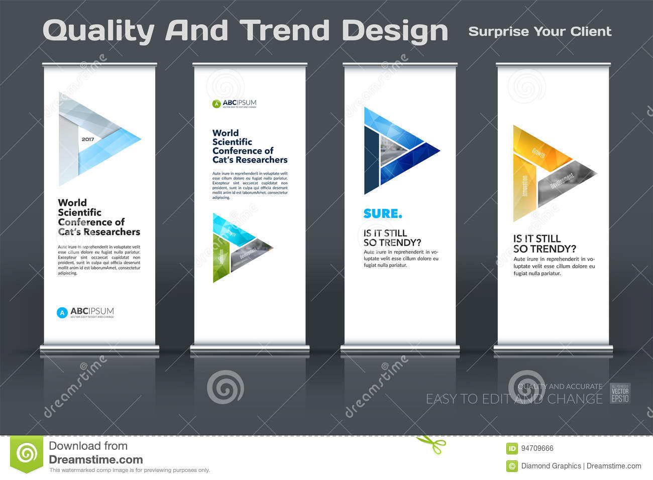 abstract business vector set of modern roll up banner stand design