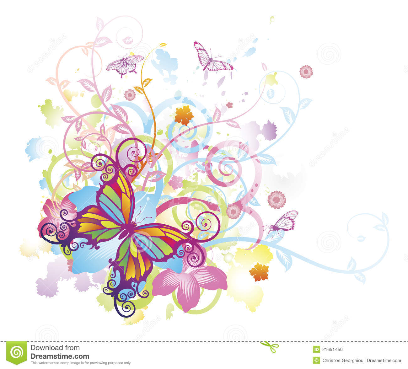 Abstract Butterfly Floral Background Stock Photo