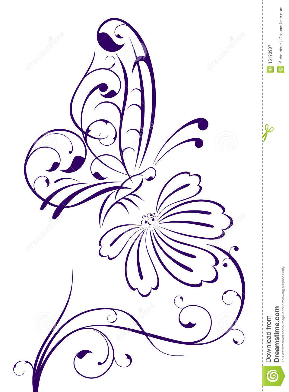 Abstract butterfly on flower