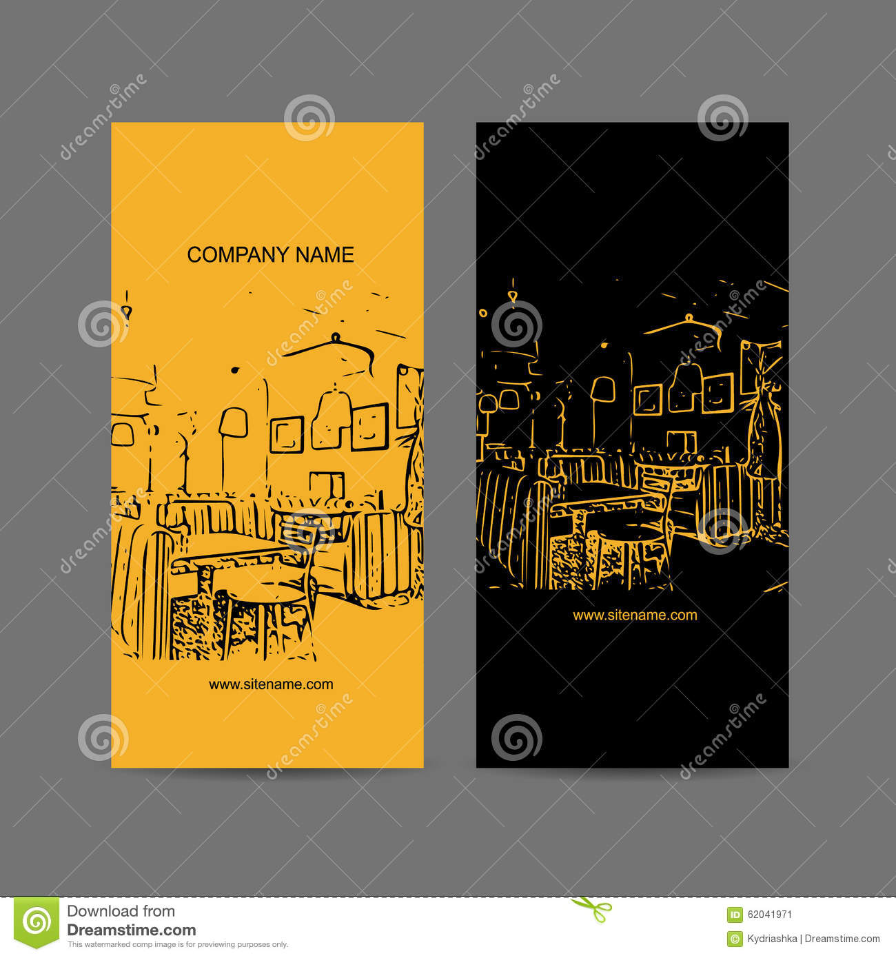 Abstract Cafe Interior Silhouette. Business Card Stock Vector ...