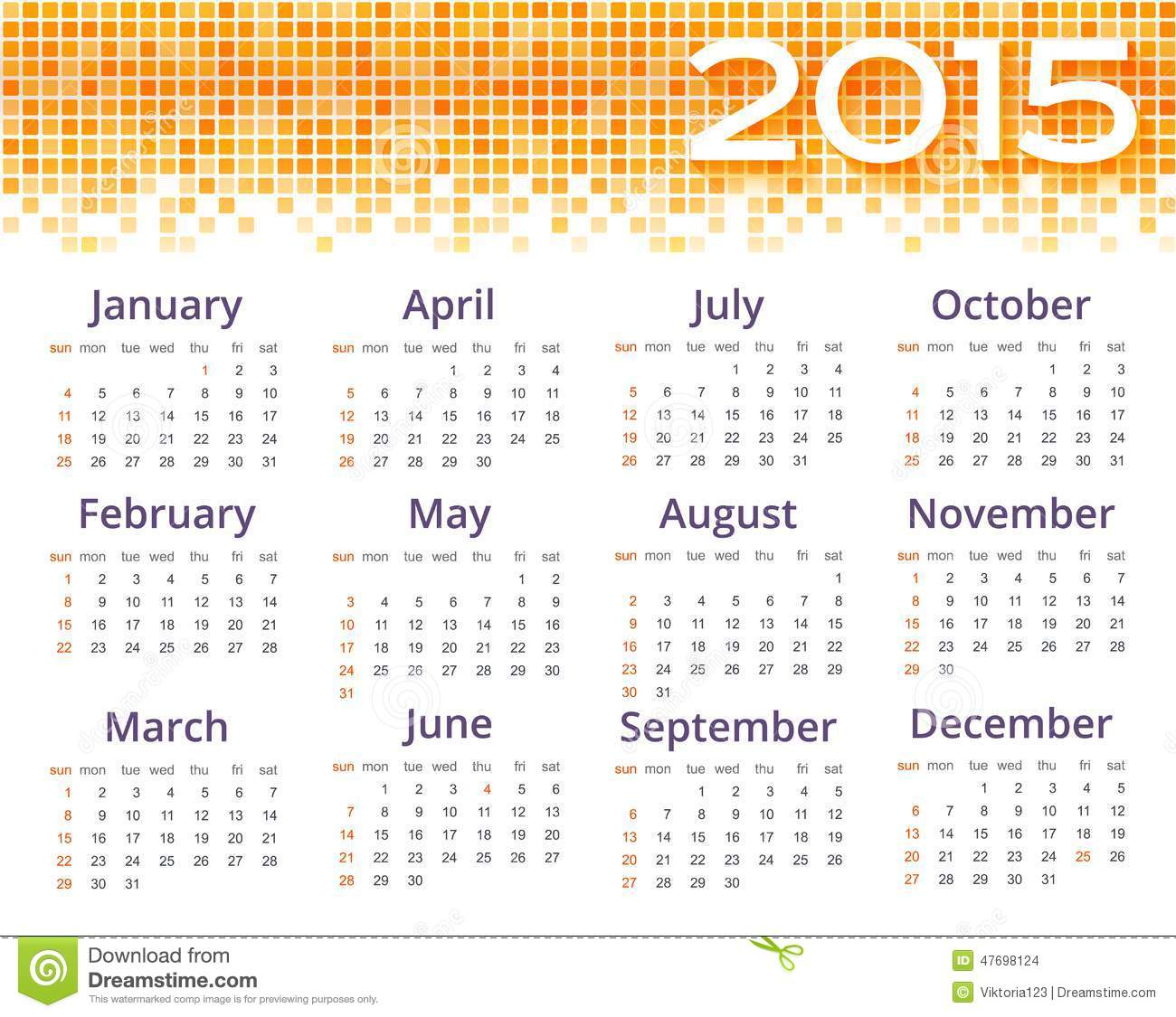 Abstract 2015 Calendar With Yellow Pixel Border Vector – Sample 2015 Calendar