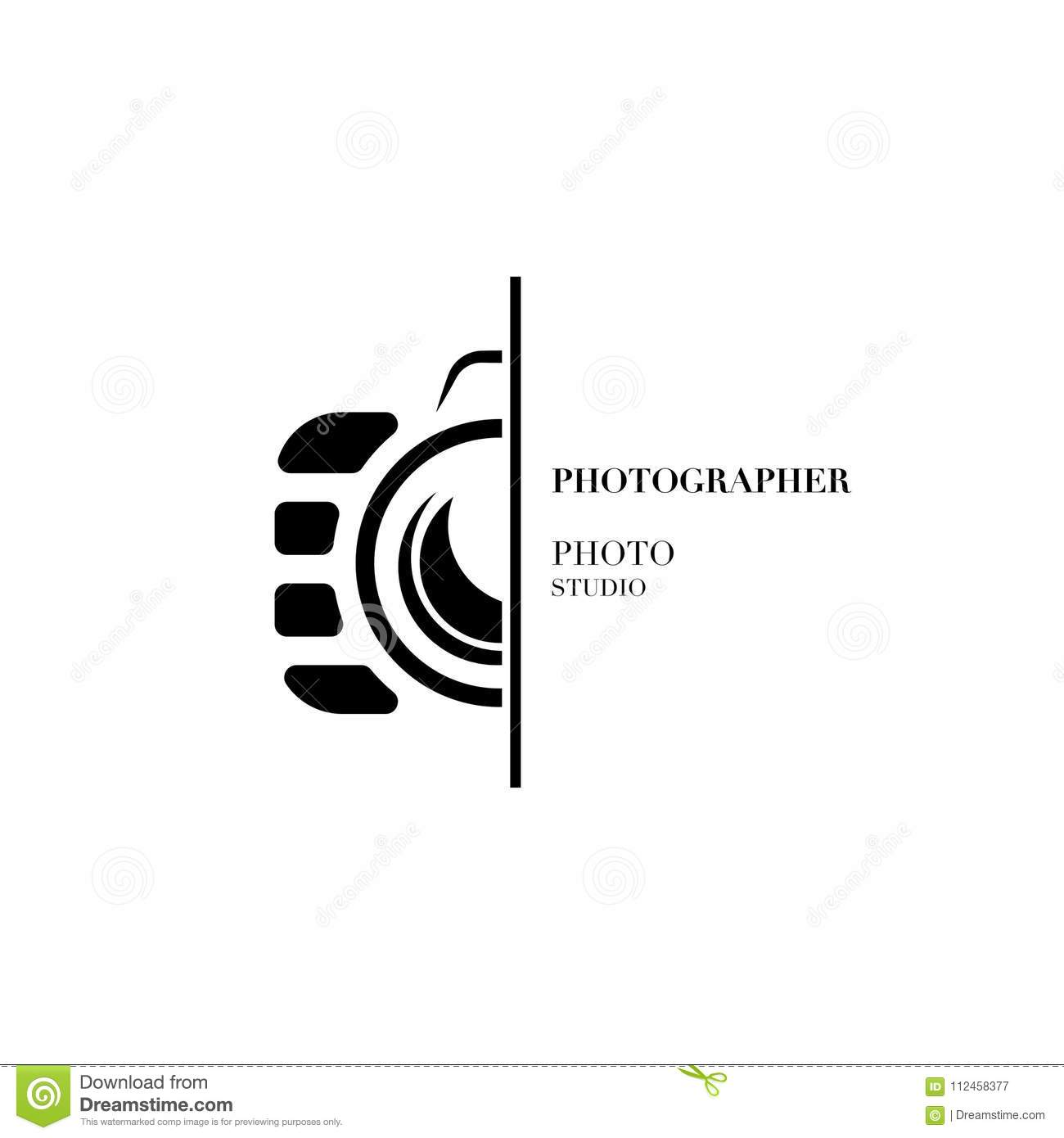abstract camera logo vector design template for professional pho