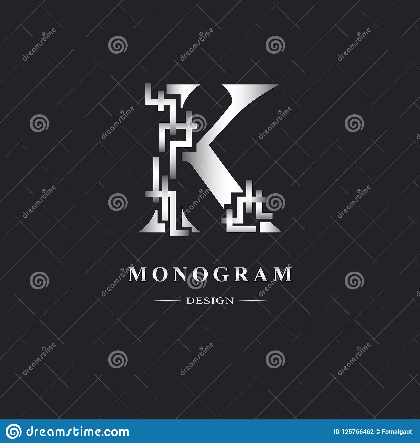 Abstract Capital Letter K Graceful Linear Style Geometric
