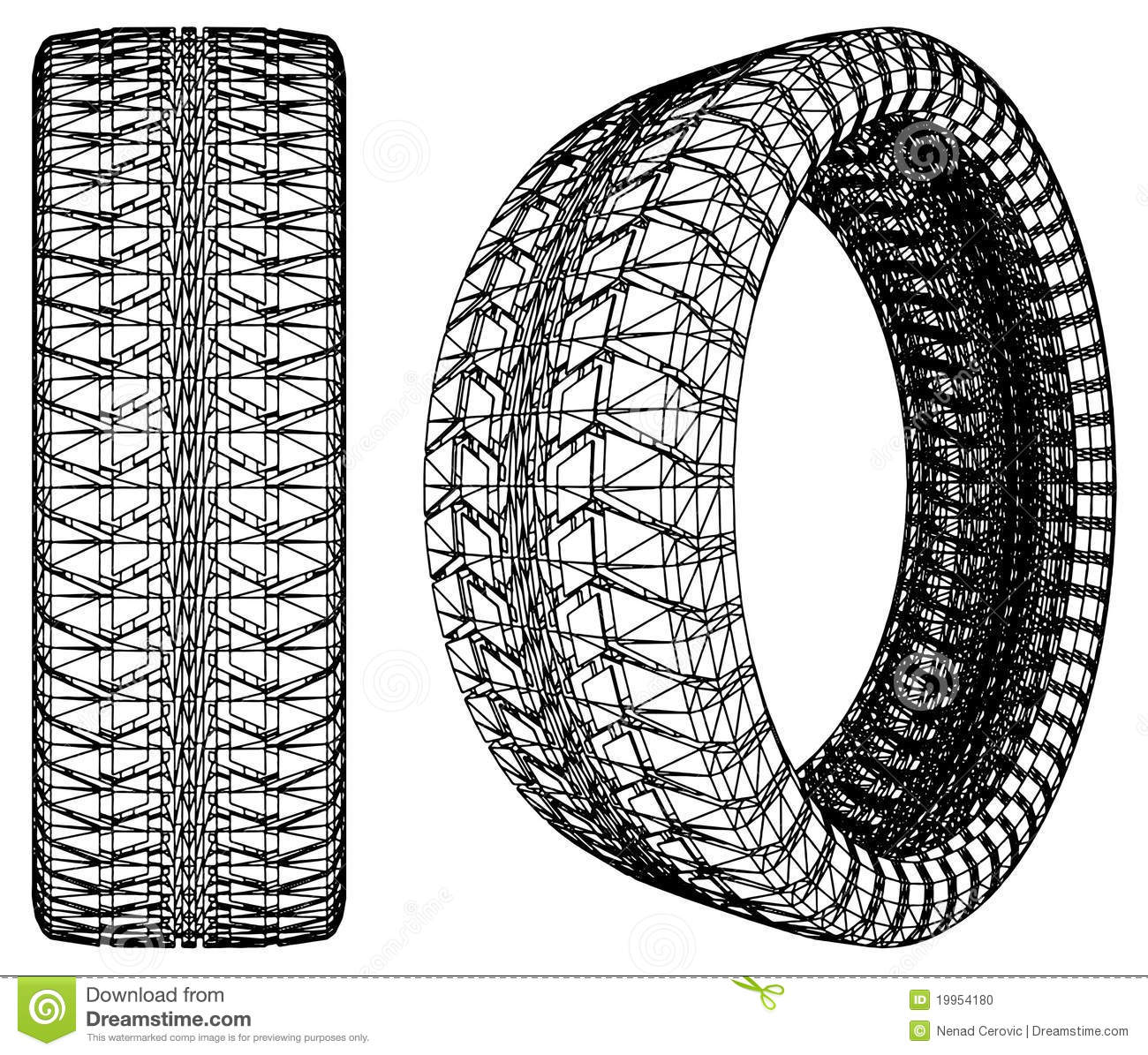 Abstract Car Wheel Tire Vector 10