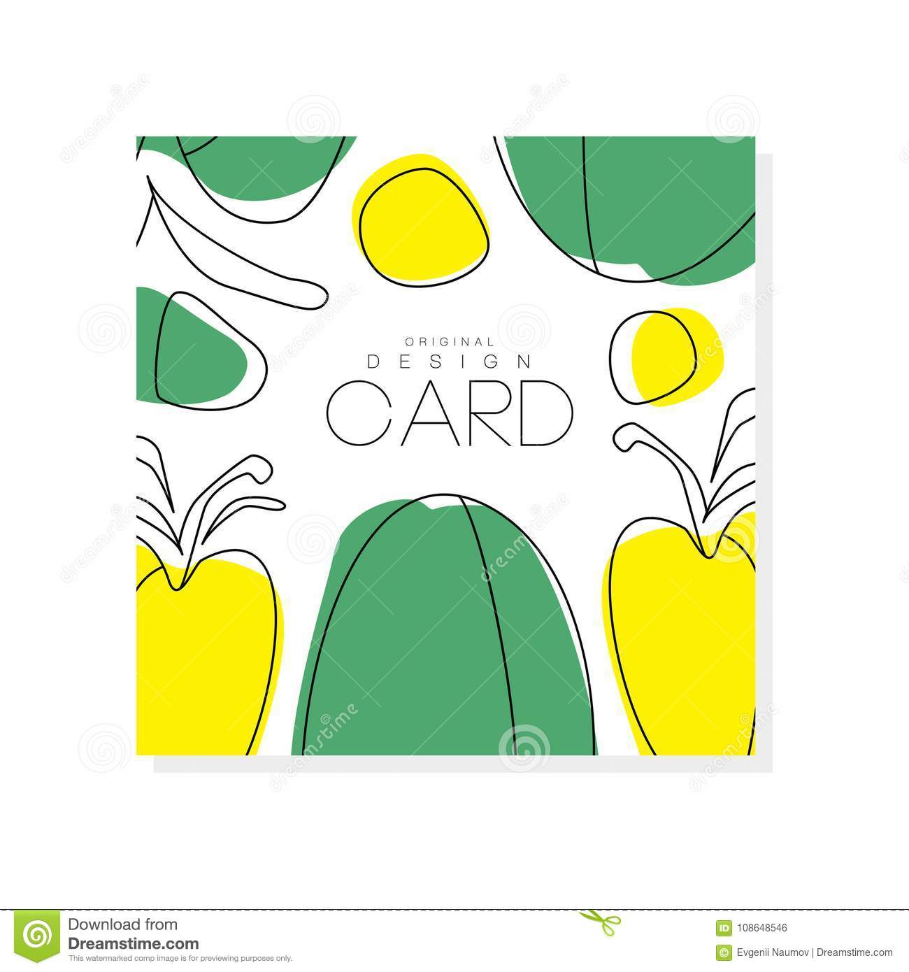 Abstract Card With Green And Yellow Vegetables. Healthy Eating ...