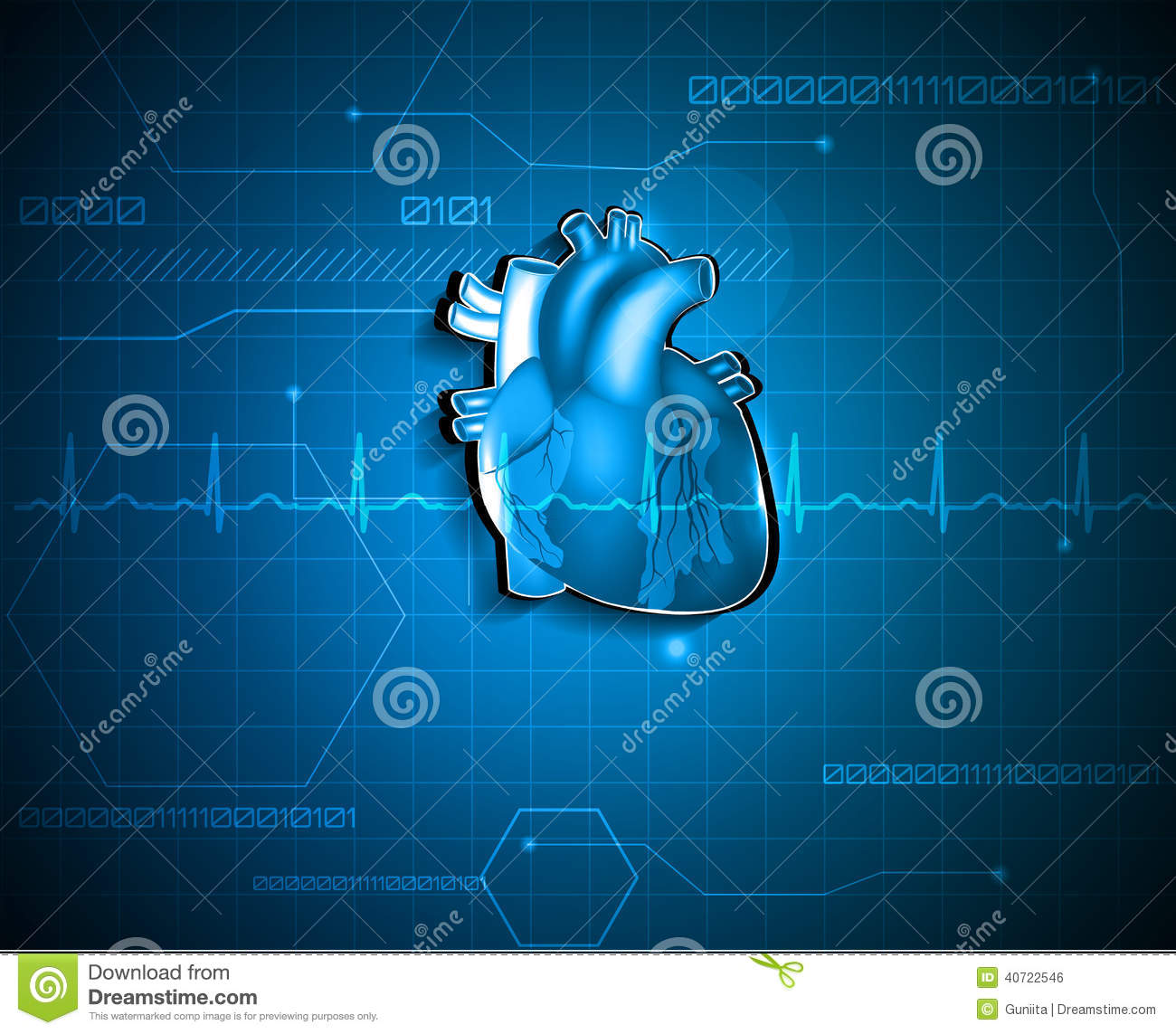 Heart with electrocardiogram test in the background, cardiology ...