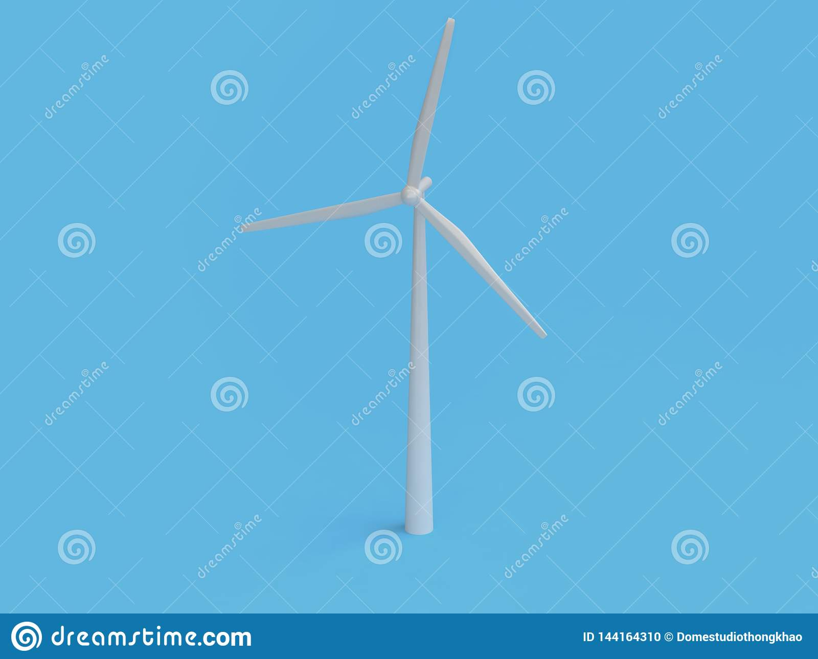 Abstract cartoon style wind turbine minimal blue background 3d render,renewable energy environment save earth