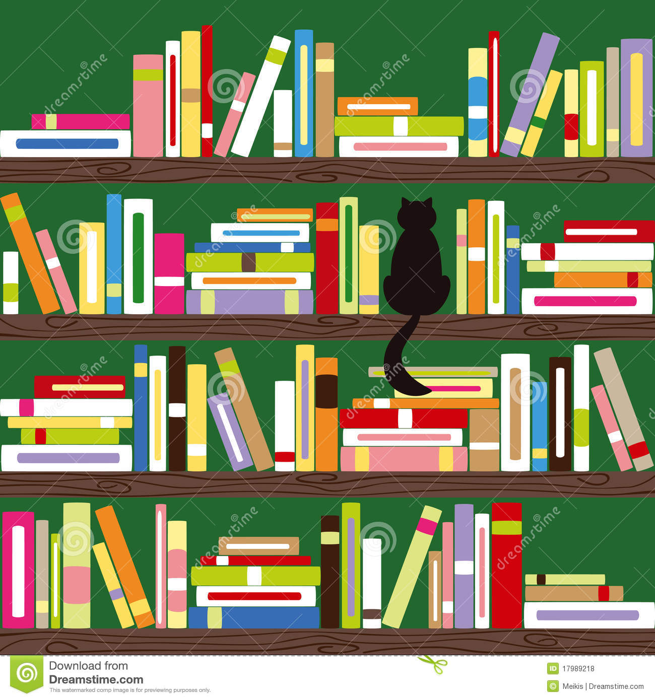 Abstract Cat With Colorful Books On Bookshelf Download Preview