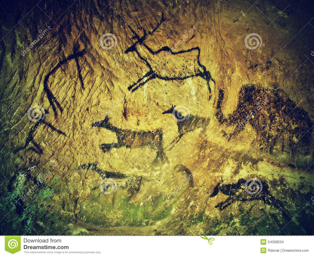 Abstract Children Art In Sandstone Cave. Black Carbon Paint Of Human ...