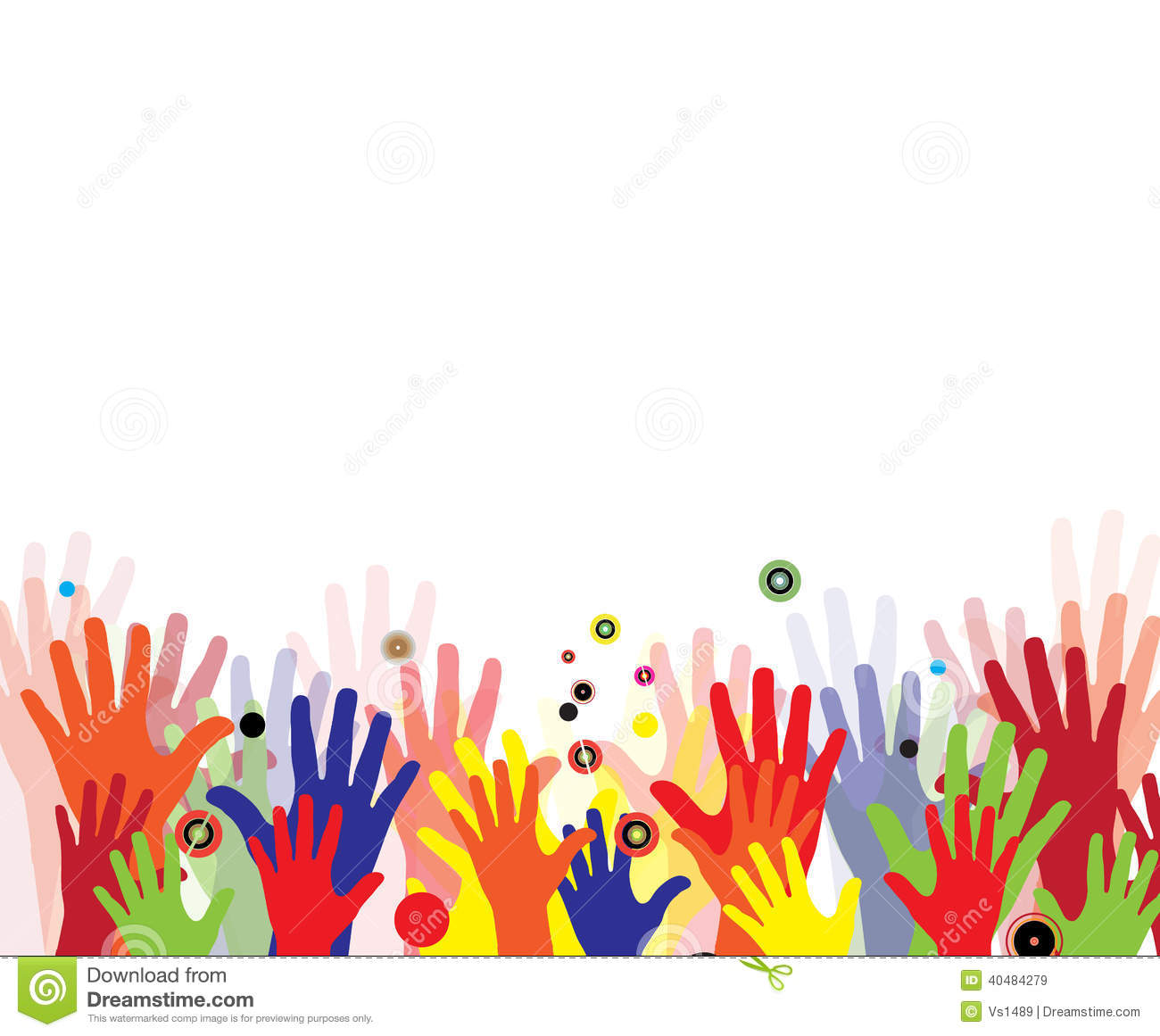 Abstract Children Hands In Colorful Paint Stock Vector