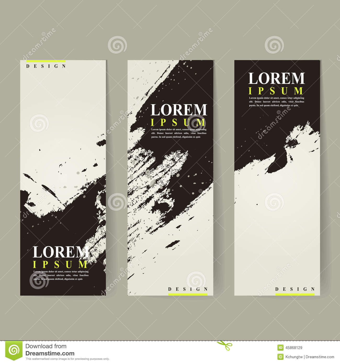 Abstract chinese calligraphy design for banners set stock