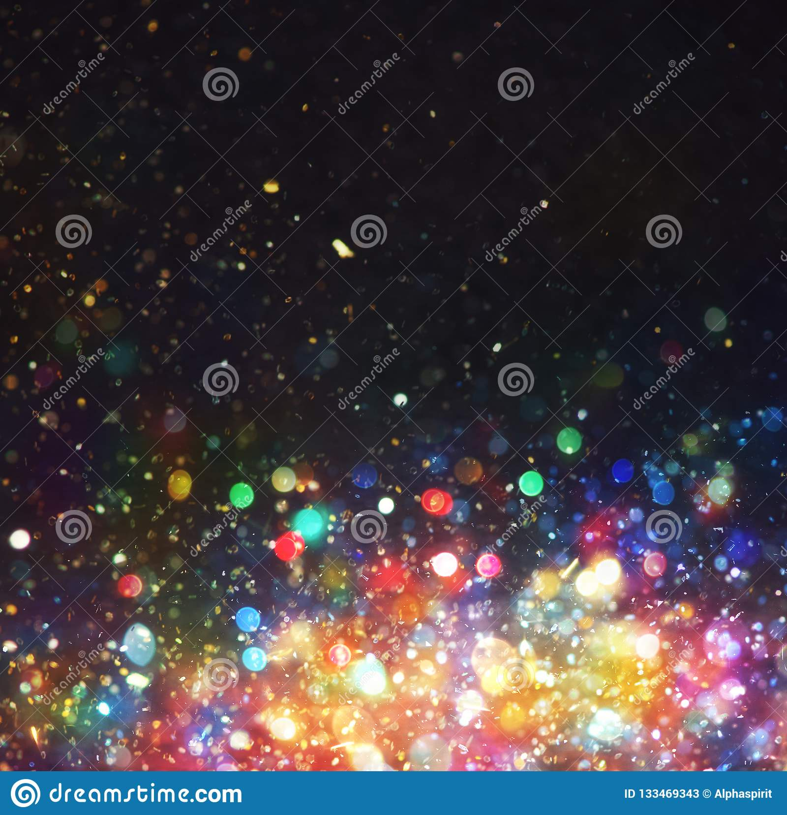Abstract Christmas background with colorful lights in the night