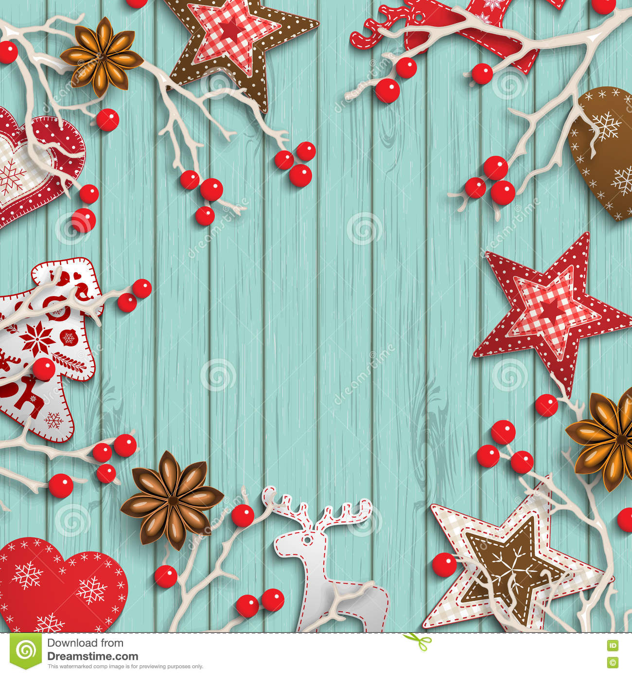 Abstract christmas background, dry branches with red berries and small scandinavian styled decorations lying on wooden