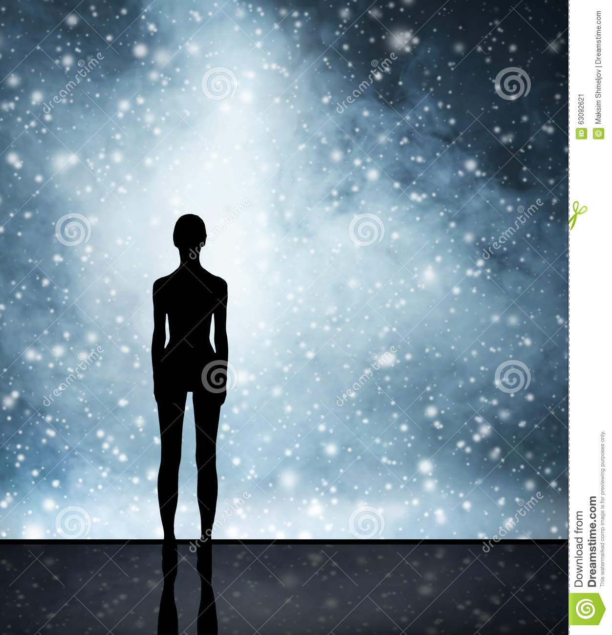 Abstract Christmas Background. Winter Sky, Snowflakes And Stars Stock Photo - Image: 63092621
