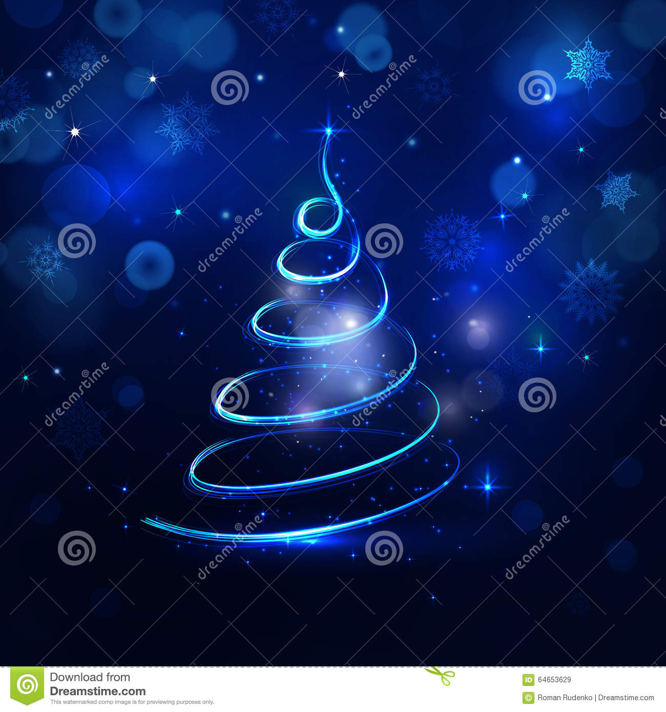 Abstract christmas tree on blue magic background in raster; Dar