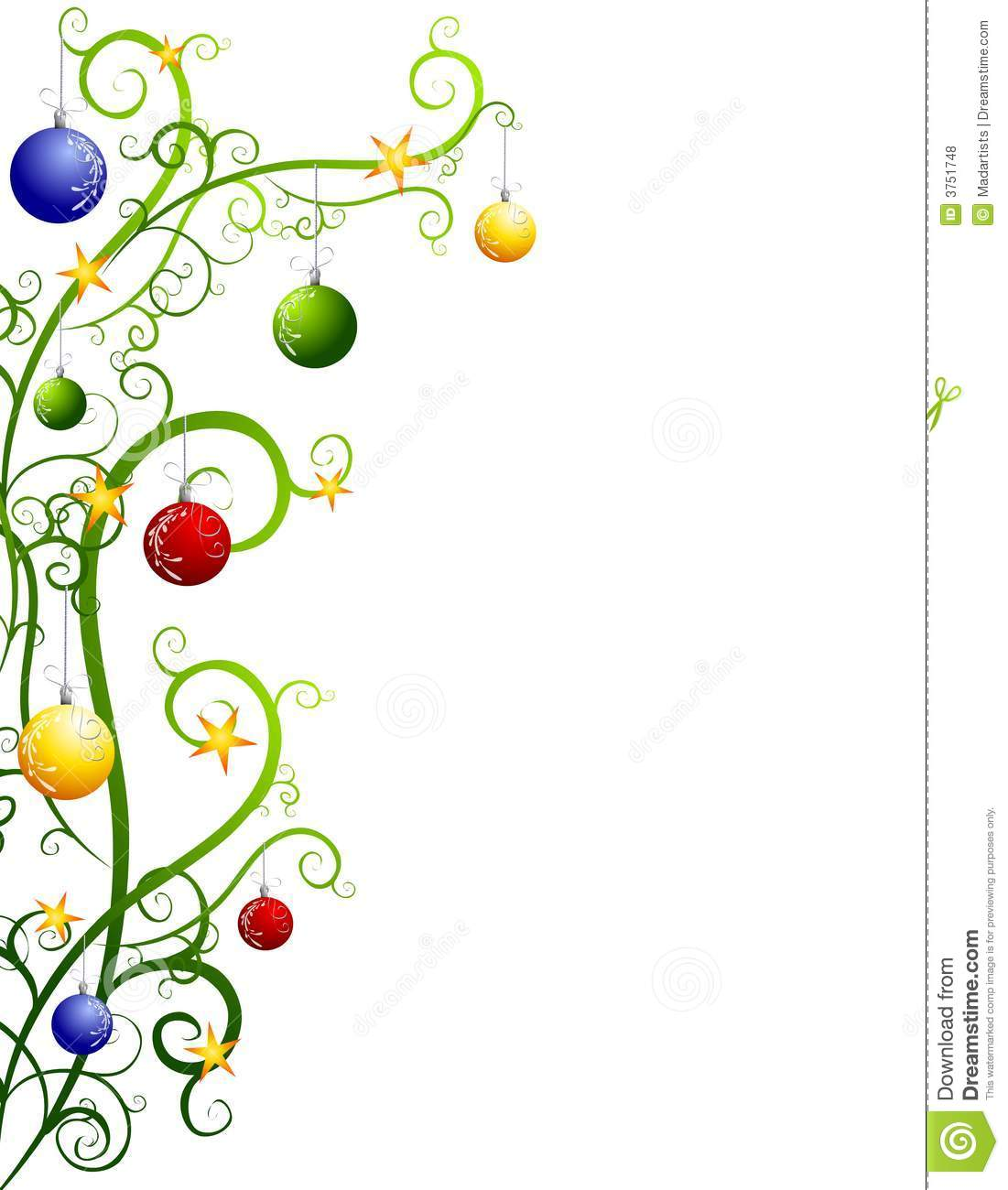 ... tree with swirling branches and hanging ornaments for use as a border
