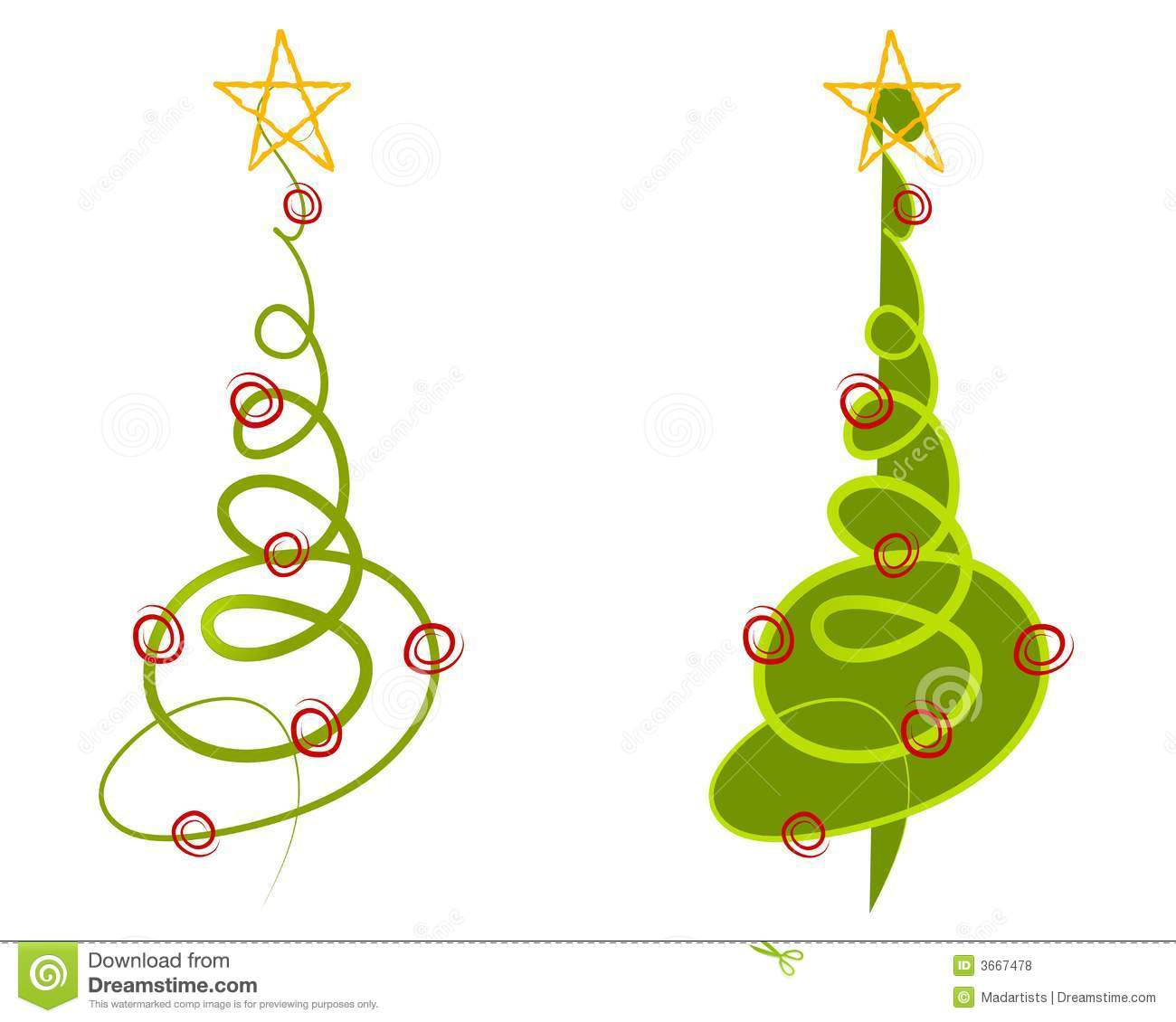 Clip art illustration of your choice of 2 abstract christmas trees