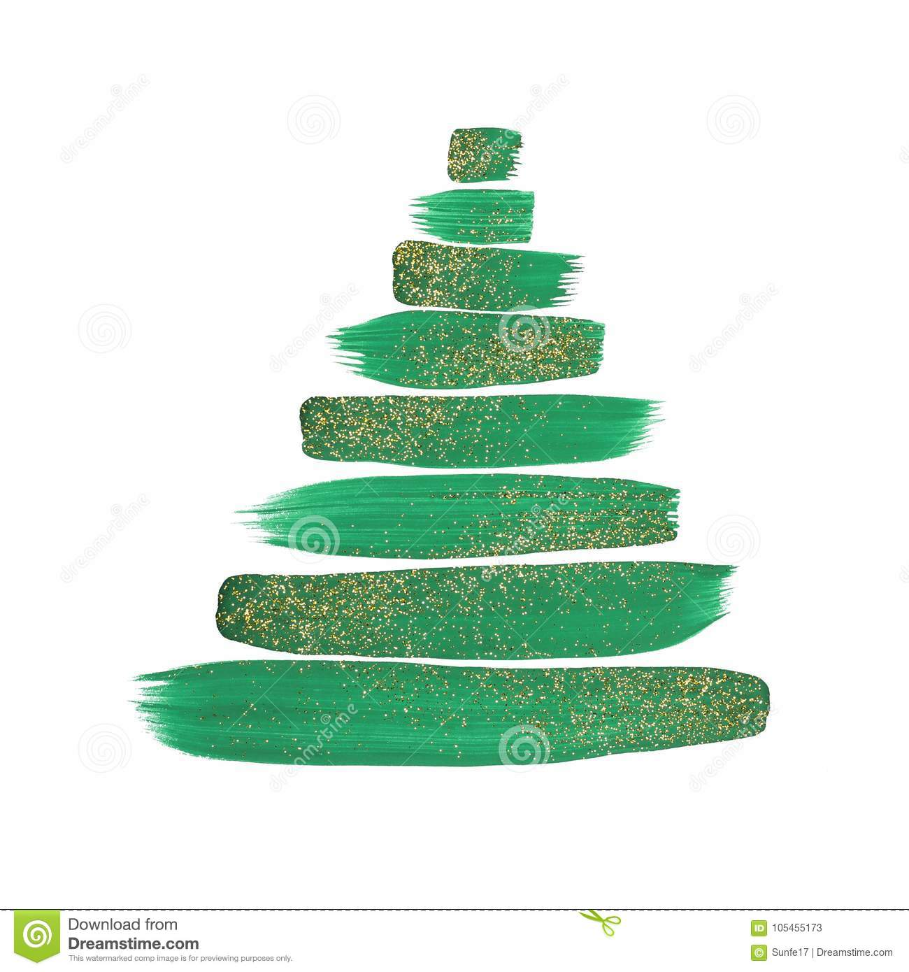 Abstract Christmas tree with green painted strokes and gold glitter