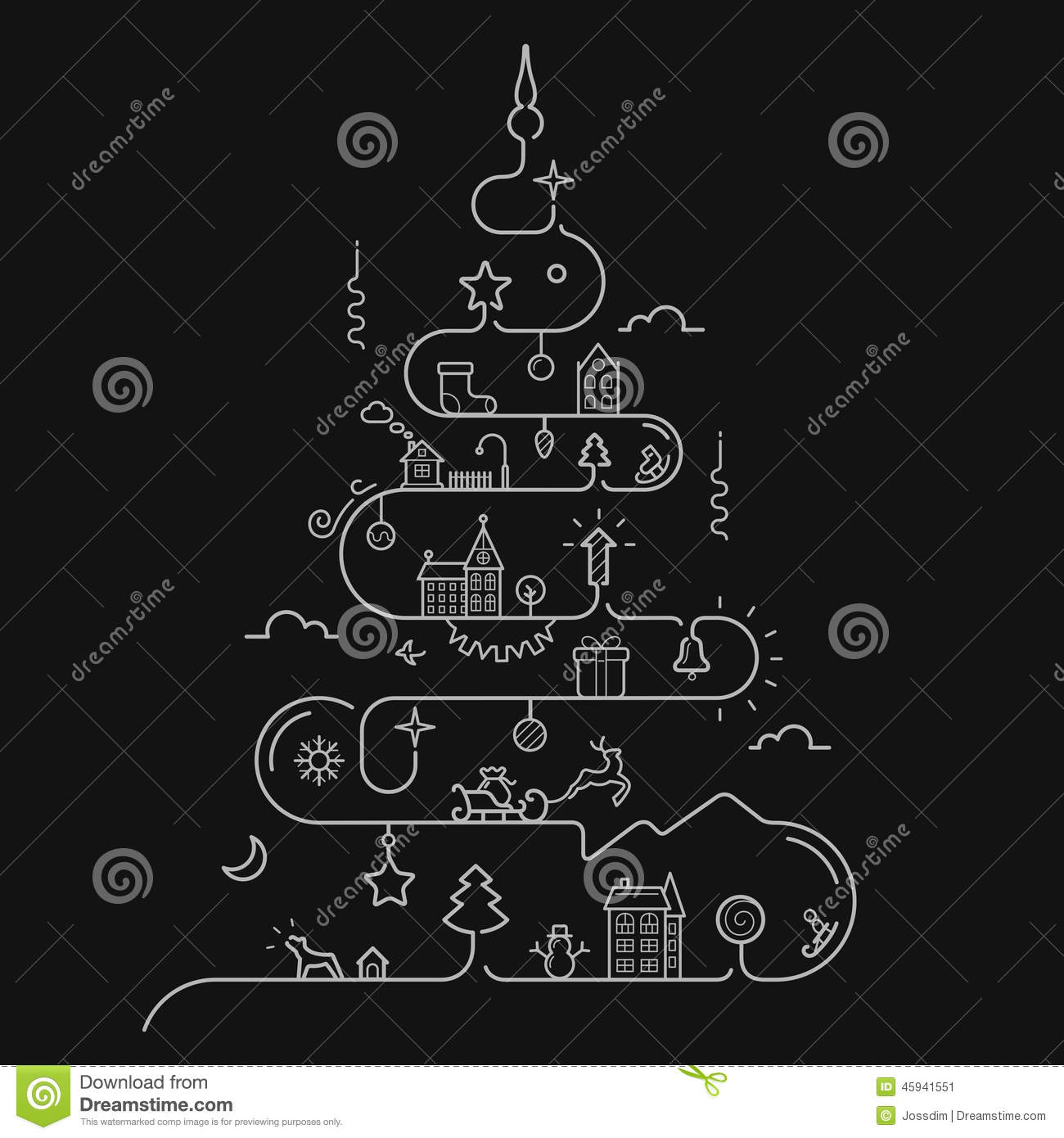 Abstract Christmas Tree In Line Style Stock Vector - Image: 45941551
