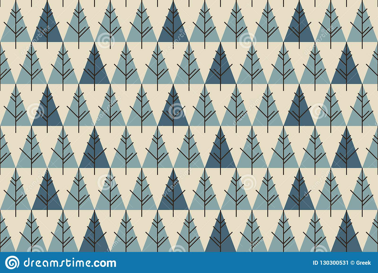 Abstract Christmas trees seamless pattern