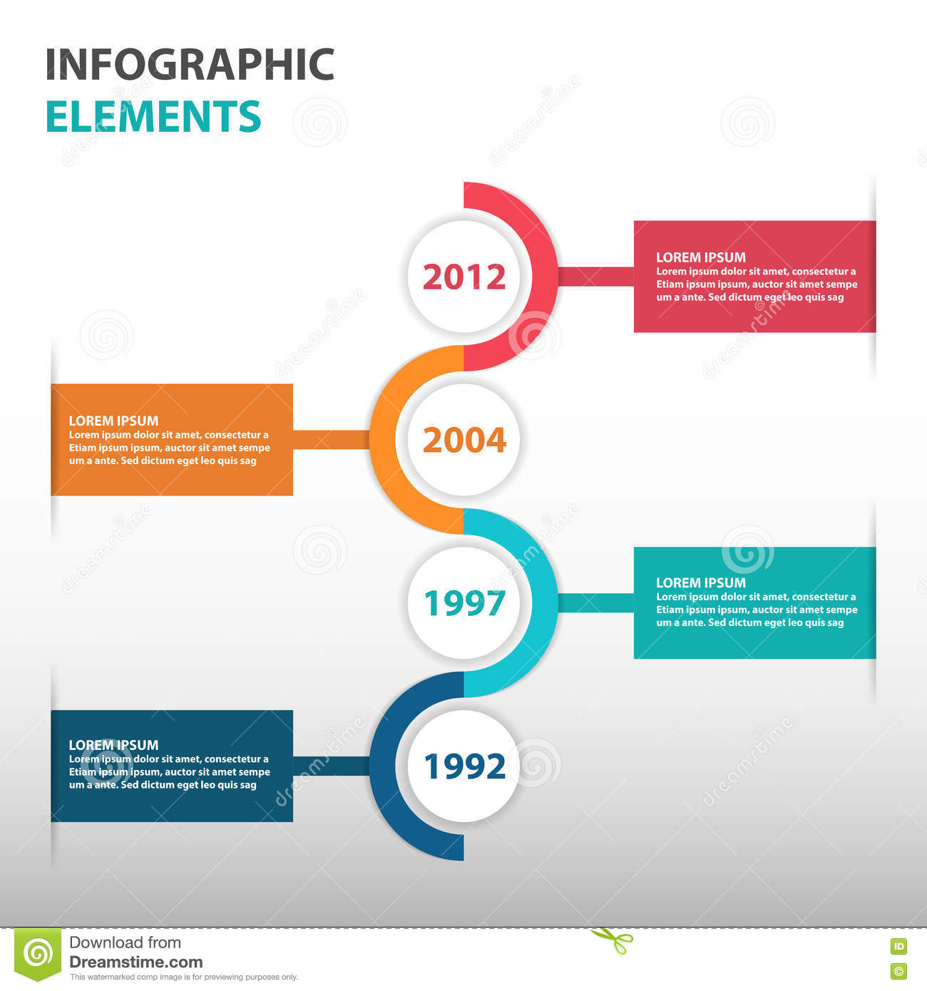 abstract circle business timeline roadmap infographics elements presentation template flat design vector illustration