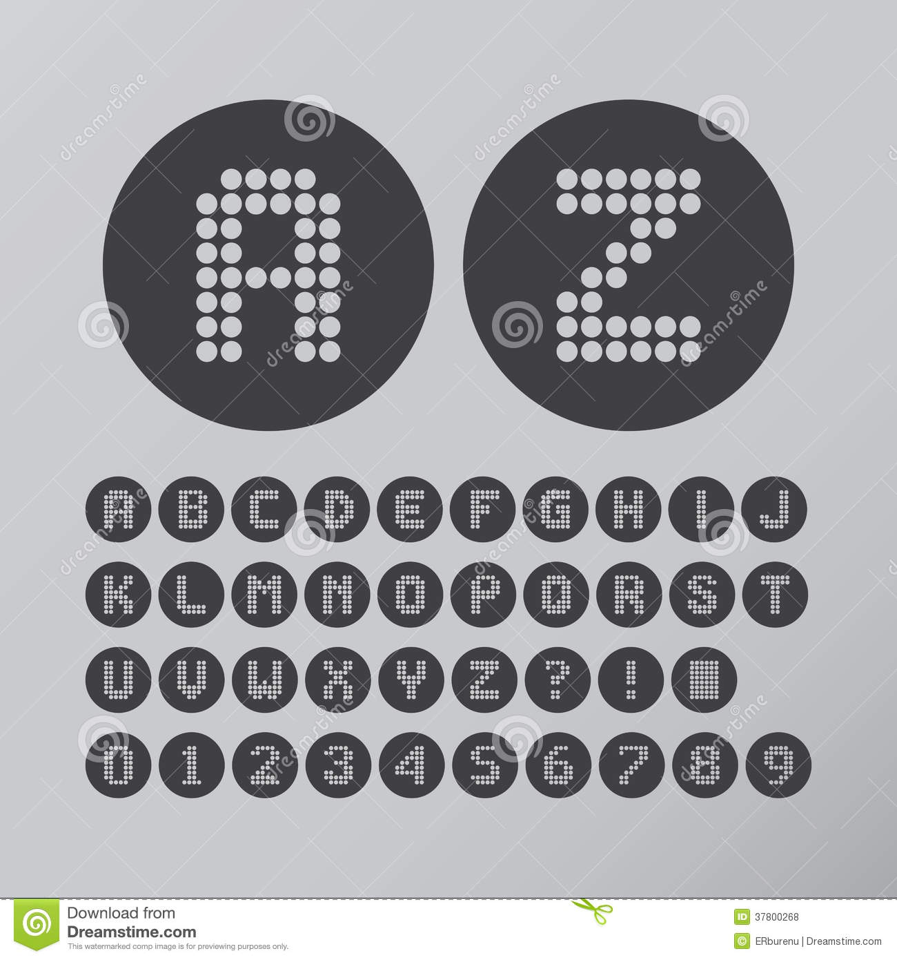Abstract Circle Dot Font And Numbers
